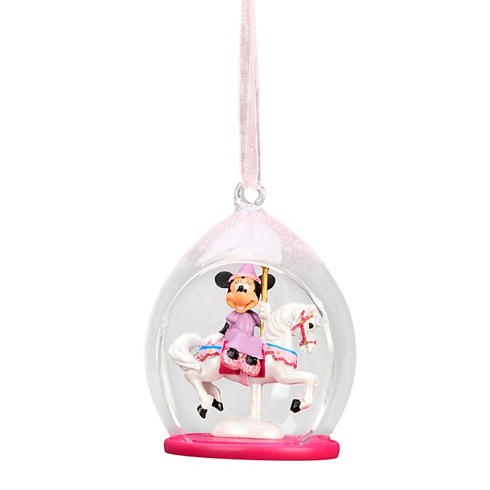 Disneyland Paris Minnie Mouse Carrousel Open Globe Hanging Ornament