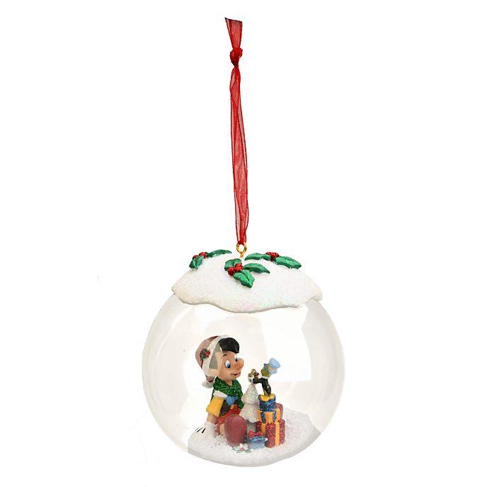 Boule de Noël en verre Pinocchio et Jiminy Cricket Disneyland