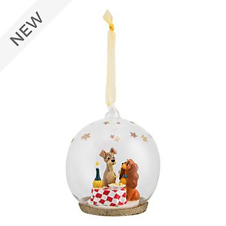 Disneyland Paris Lady and the Tramp Glass Globe Hanging Ornament