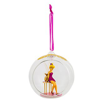 Disneyland Paris Tinker Bell and Pedestal Table Glass Bauble