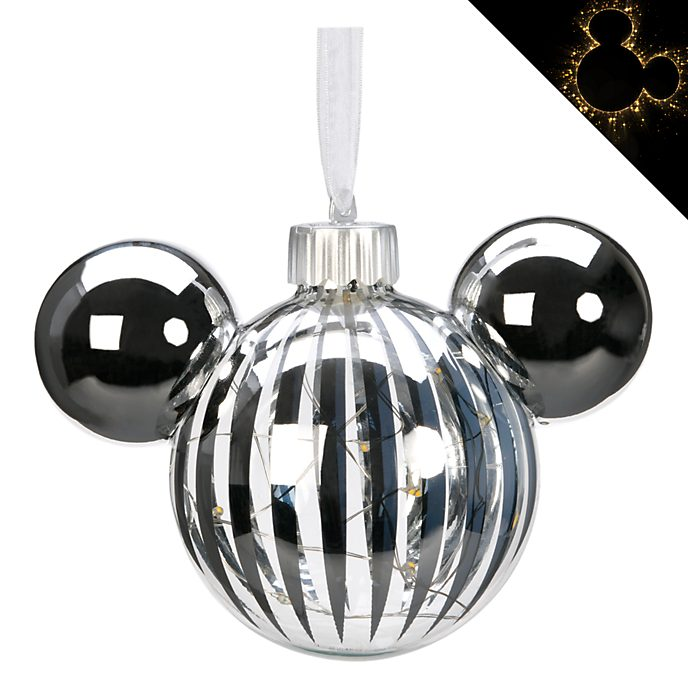Disneyland Paris Mickey Mouse Silver Icon Light-Up Hanging Ornament