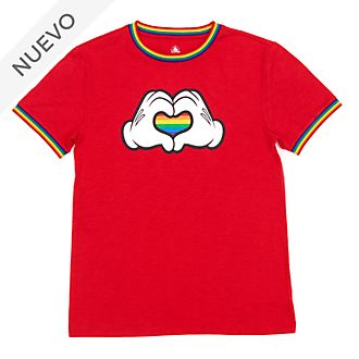 Camiseta corazón arcoíris Mickey Mouse para adultos, Rainbow Disney, Disney Store