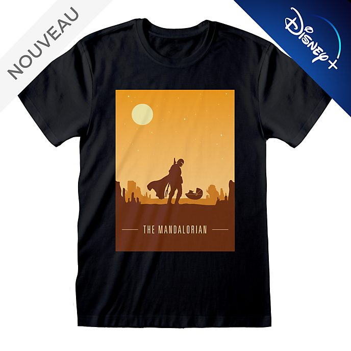 T-shirt poster The Mandalorian retro pour adultes, Star Wars