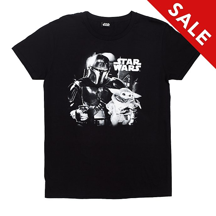 The Mandalorian Black and White T-Shirt For Adults, Star Wars