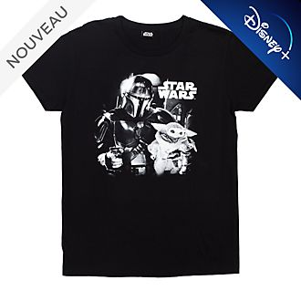T-shirt The Mandalorian noir et blanc pour adultes, Star Wars