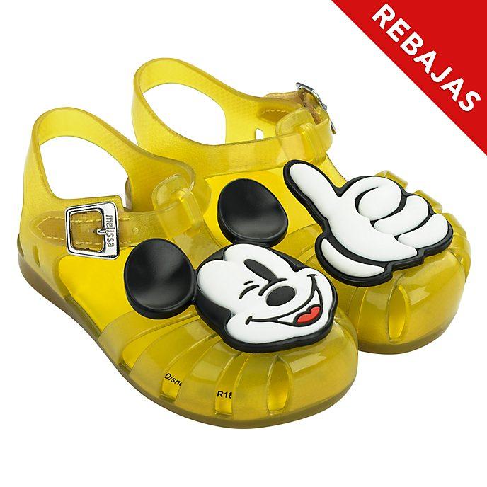 Sandalias de goma amarillo para bebé, Mickey Mouse, Melissa
