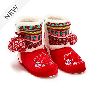 Disney Store Minnie Mouse Holiday Cheer Slippers For Adults