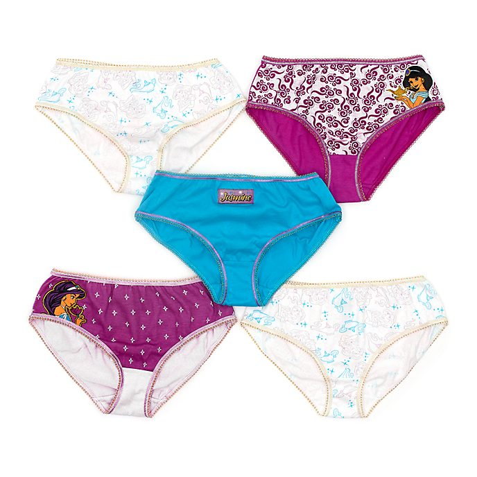 Disney Store Princess Jasmine Briefs For Kids, Pack of 5