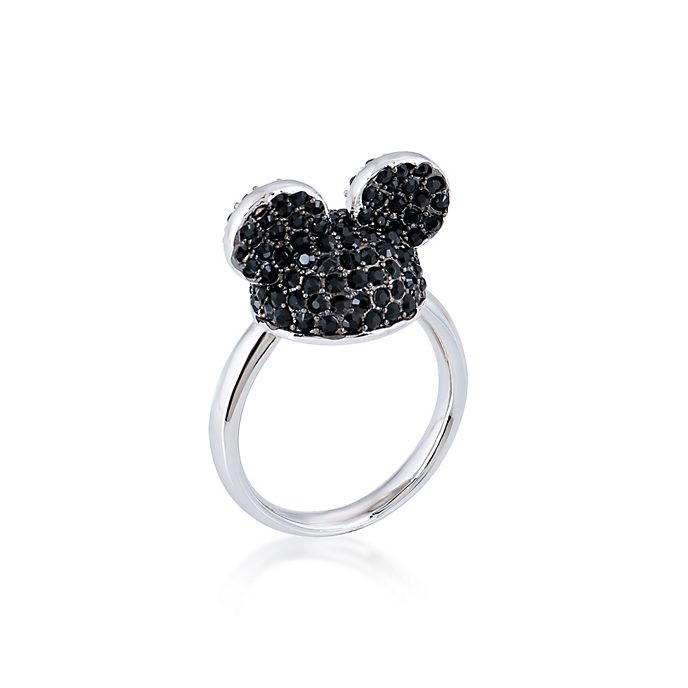Anillo Mickey Mouse bañado en oro blanco con cristales en negro, Couture Kingdom