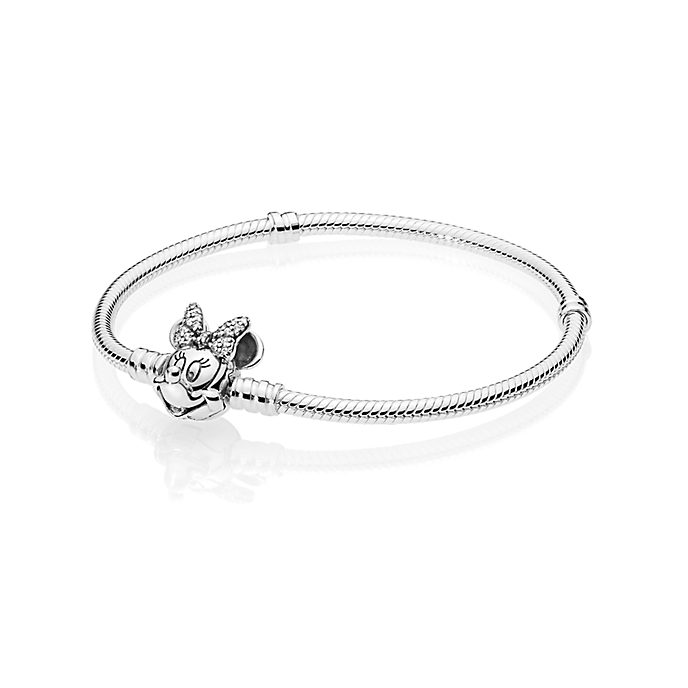 Disney X Pandora Moments Pavé Minnie Mouse Clasp Snake Chain Bracelet