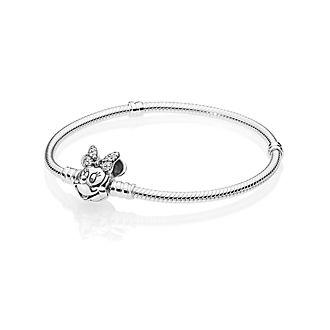 Disney X Pandora Moments Pavé Minnie Mouse Clasp Snake Chain Bracelet