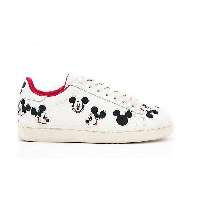 Deportivas bordadas cuero blanco Mickey Mouse para adultos, Master of Arts