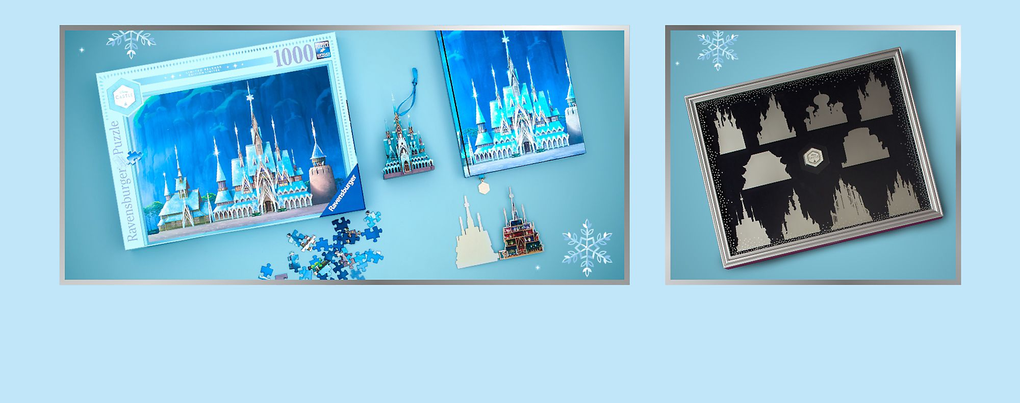 En hommage à la féérie d'Arendelle Cette série rassemble une décoration château de La Reine des Neiges, une figurine lumineuse, un lot de pin's et un journal VOIR LA COLLECTION