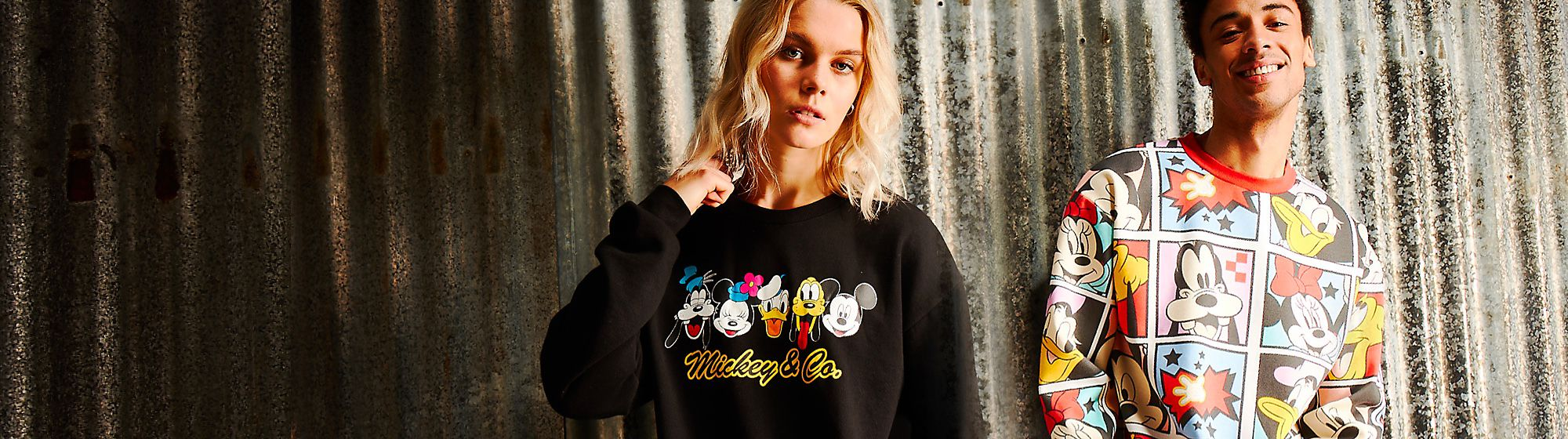 Mickey and Co. A retro Disney apparel brand inspired by 80s and 90s designs, made by using up to 50% of fibers from recycled plastic bottles.