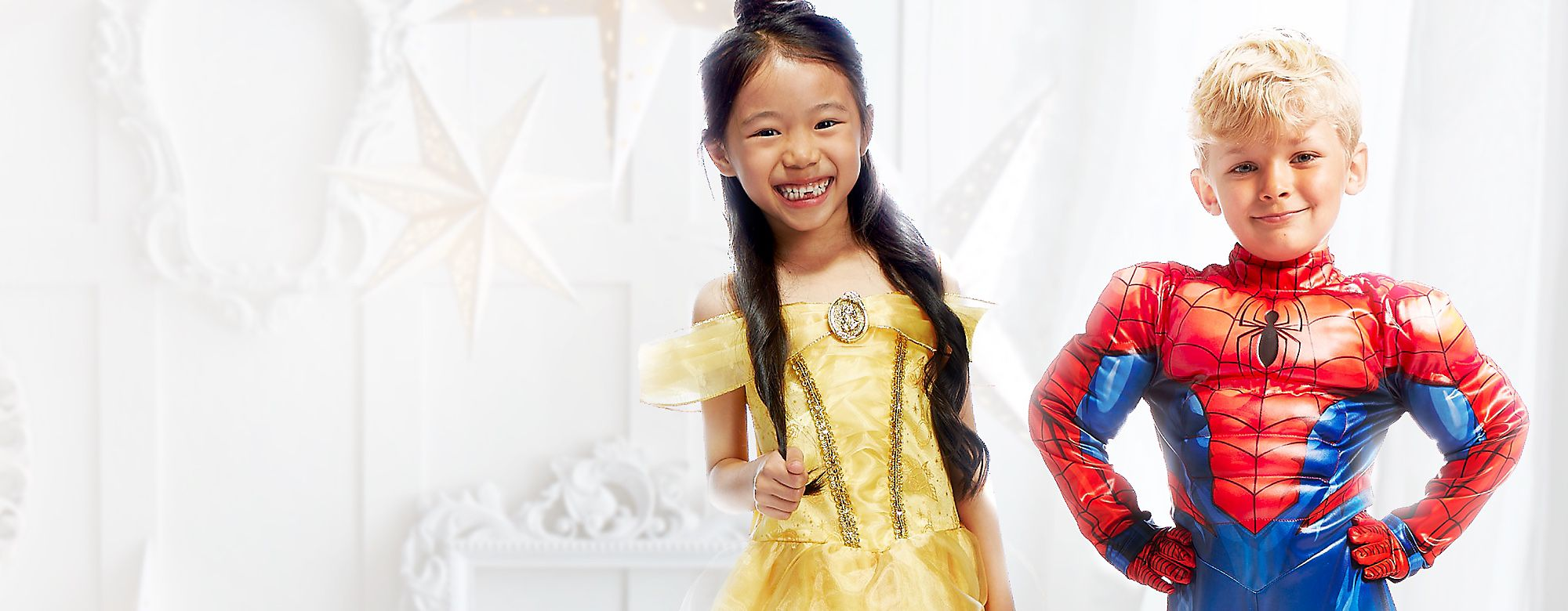 Fancy Dress Discover a magical range of official Disney, Marvel and Star Wars fancy dress costumes for the whole family. Shop an amazing collection for babies, kids and adults featuring favourites like Disney Princesses, Spider-Man, Stormtroopers and many more. DISCOVER MORE