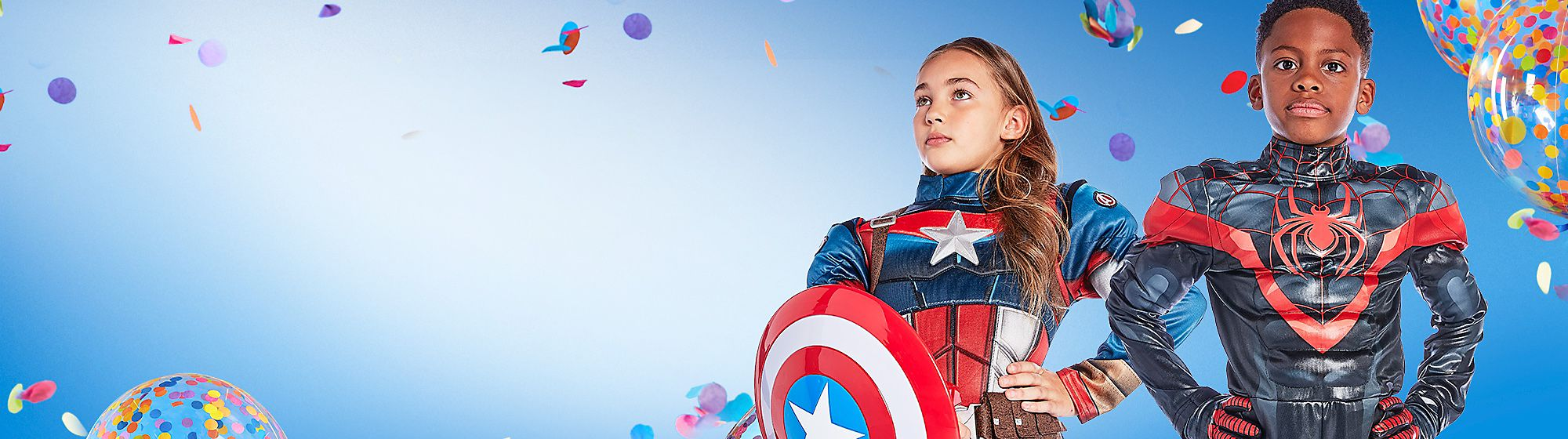 Super-Hero Kostüme Begib dich auf actionreiche Abenteuer mit unseren offiziellen Kostümen der Superhelden von Disney, Star Wars und Marvel für Jungs und Mädchen. Erlebe die Welt als Spider-Man, Iron Man, Buzz Lightyear oder Captain America mit den Kostümen der Helden und passenden Accessoires, wie Helmen, Laserschwertern und Stiefeln.