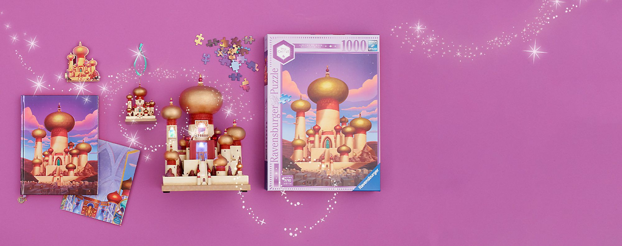 Our Dazzling New Collection This series features an ornament, a light-up figurine, a puzzle, a pin and a journal