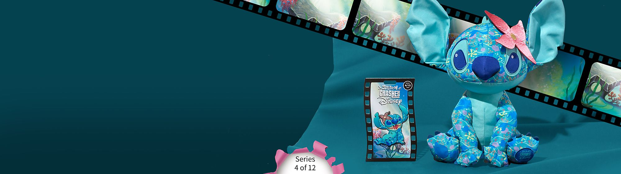 Stitch Crashes The Little Mermaid Collect limited edition Series 4 of 12 pin & soft toy Will release later this Spring