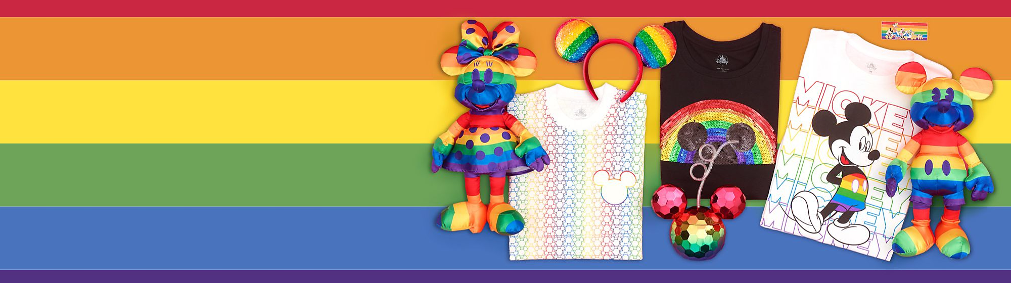 Disney Rainbow Collection In celebration of Pride Month 2020, shopDisney.co.uk has released the Rainbow Disney Collection, an exclusive range including soft toys, accessories and pin set. In recognition of Pride Month and the collection, Disney PRIDE UK will be donating to non-profit Diversity Role Models. ​