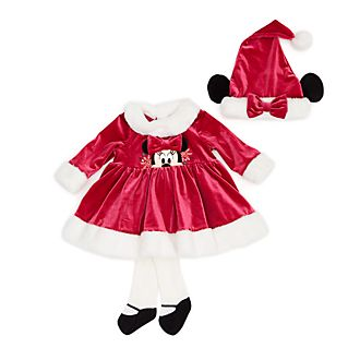 Disney Store Minnie Mouse Holiday Cheer Baby Dress and Tights Set