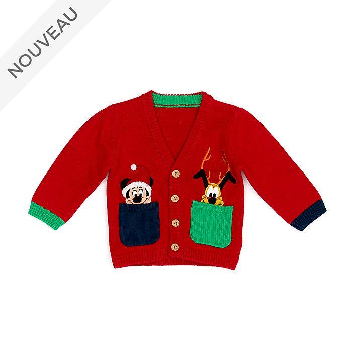 Disney Store Cardigan Mickey et Pluto pour bébés, Holiday Cheer