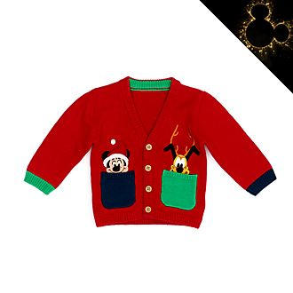 Disney Store Mickey and Pluto Holiday Cheer Baby Cardigan