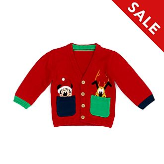Disney Store Mickey and Pluto Holiday Cheer Baby Cardigan