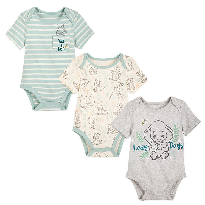 Disney Store Dumbo, Bambi and Simba Baby Body Suits, Set of 3
