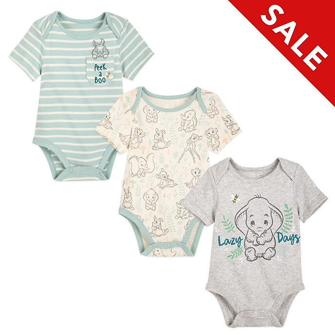 Disney Store Dumbo, Bambi and Simba Baby Body Suits, Set of 3