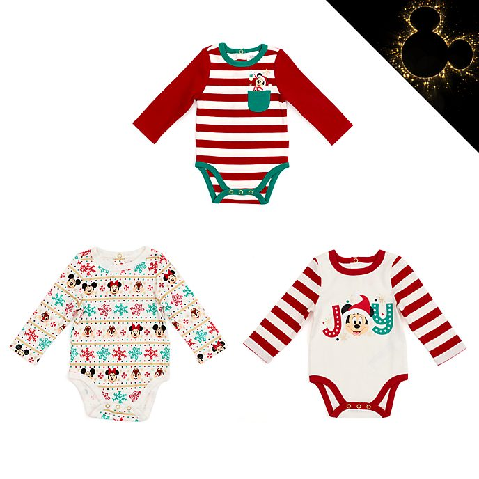 Disney Store Mickey and Friends Holiday Cheer Baby Body Suits, Set of 3