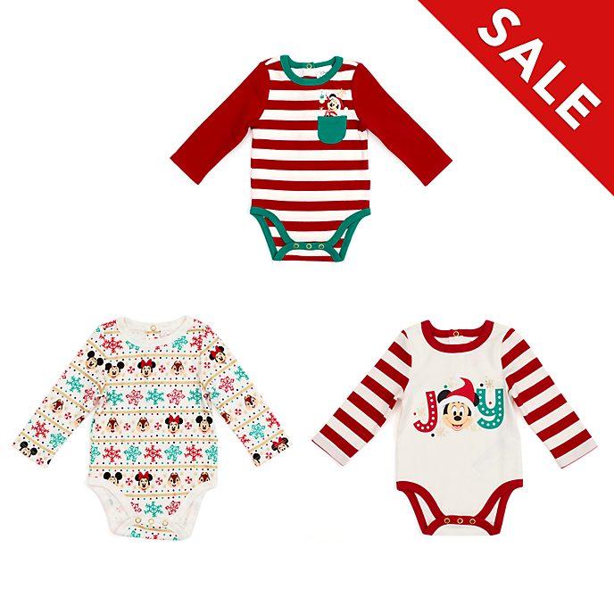 Disney Store - Holiday Cheer - Micky und Freunde - Baby Bodys, dreiteiliges Set