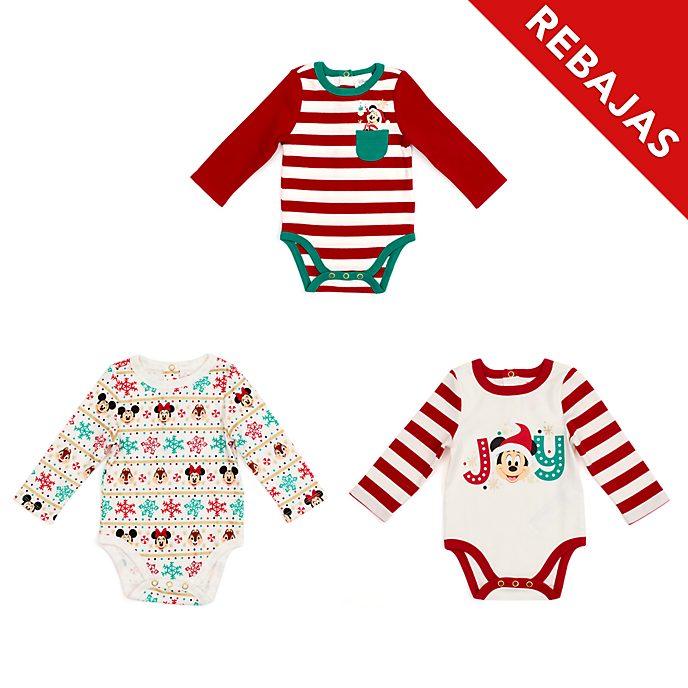 Peleles para bebé Mickey y sus amigos, Holiday Cheer, Disney Store (juego de 3)