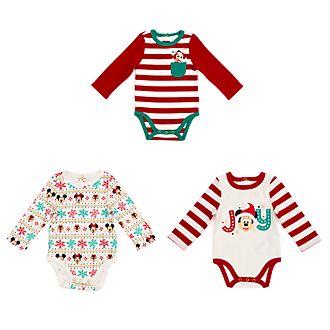 Disney Store Lot de 3bodys Mickey et ses Amis pour bébés, Holiday Cheer