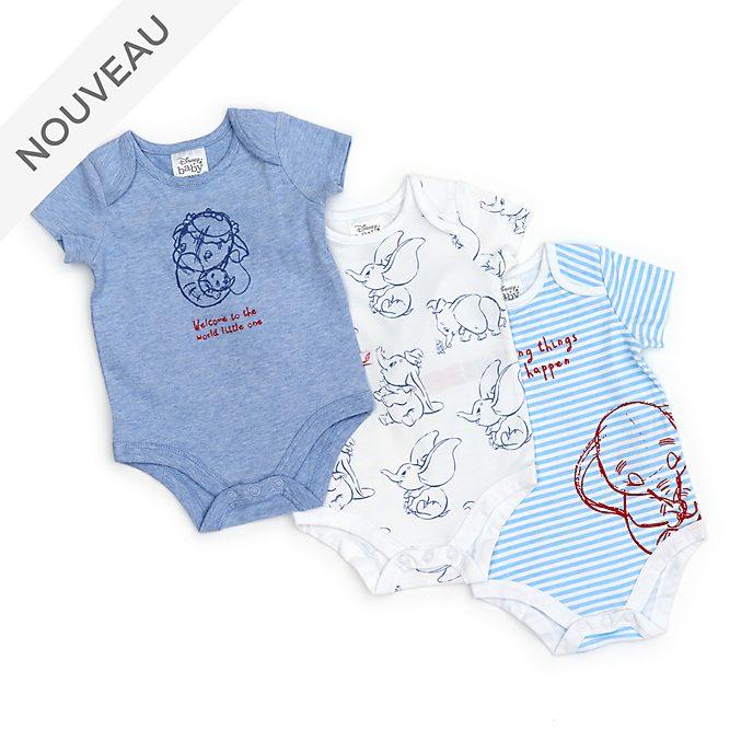 Disney Store Lot de 3bodys Dumbo pour bébé