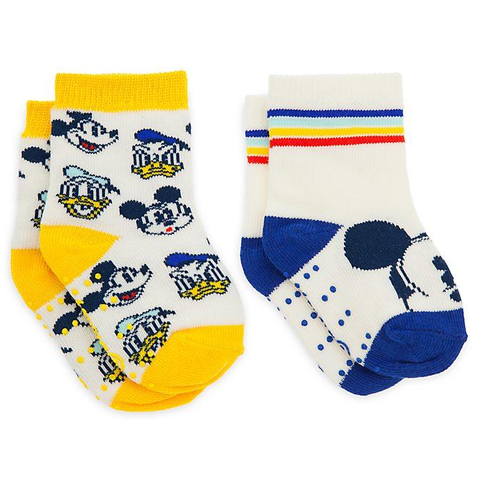Disney Store Lot de 2paires de chaussettes Mickey et Donald pour bébé