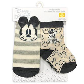 Disney Store Lot de 2 paires de chaussettes Mickey pour bébé