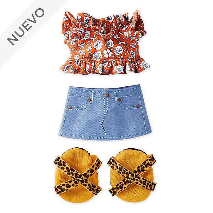 Camiseta fruncida con minifalda y sandalias estampado leopardo, peluche pequeño nuiMOs, Disney Store