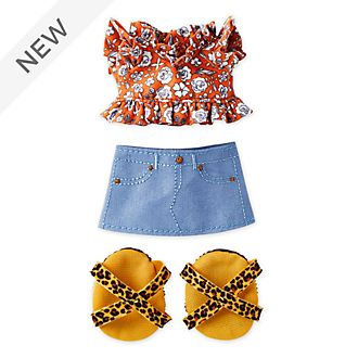 Disney Store nuiMOs Small Soft Toy Ruffled Shirt with Mini Skirt and Leopoard Print Sandals
