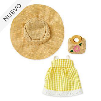 Vestido cuadros Vichy amarillo, pamela y bolso paja, peluche pequeño nuiMOs, Disney Store
