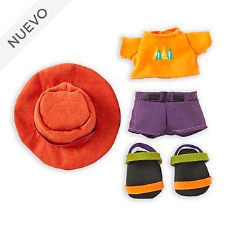 Camiseta naranja, sombrero de ala ancha y sandalias, peluche pequeño nuiMOs, Disney Store
