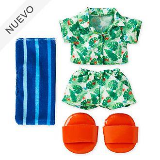 Conjunto camisa y pantalones cortos hawaianos con toalla, peluche pequeño nuiMOs, Disney Store