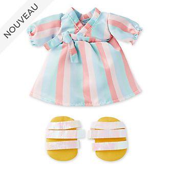 Disney Store Robe rayée pastel et sandales à bride pour petite peluche Disney nuiMOs