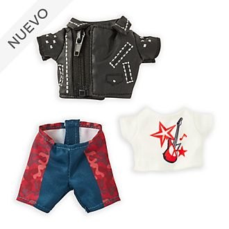 Chaqueta motorista, camiseta ilustrada y pantalones, peluche pequeño nuiMOs, Disney Store