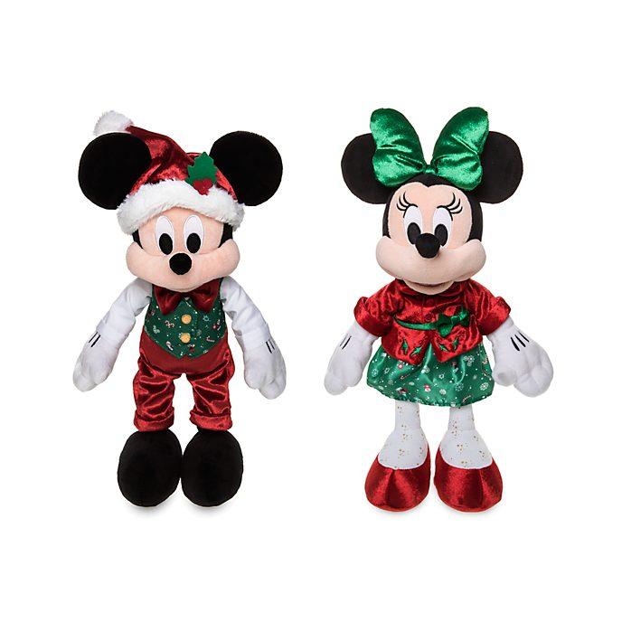 Promoción set de peluches Mickey y Minnie, Holiday Cheer, Disney Store