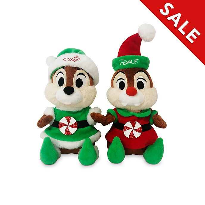 Disney Store Chip 'n' Dale Holiday Cheer Medium Soft Toy Set