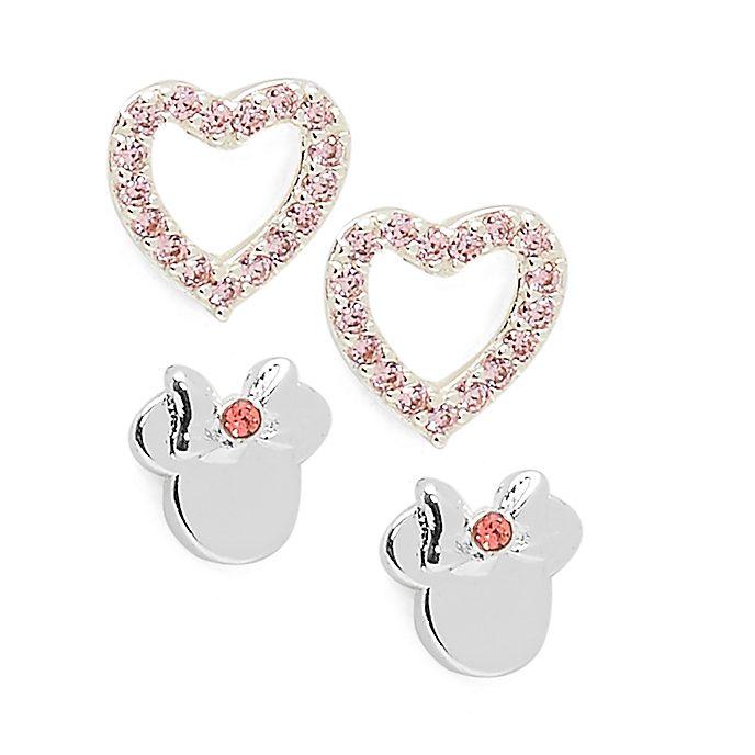 Pendientes bañados en plata corazón Minnie, Disney Store (2 pares)