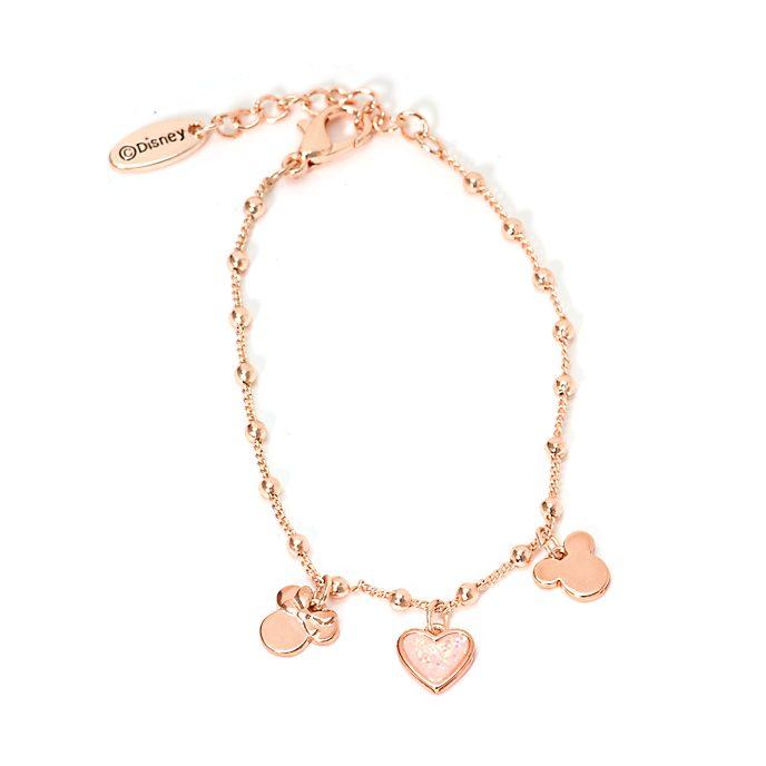 Bracciale con charm placcato in oro rosa Topolino e Minni Disney Store