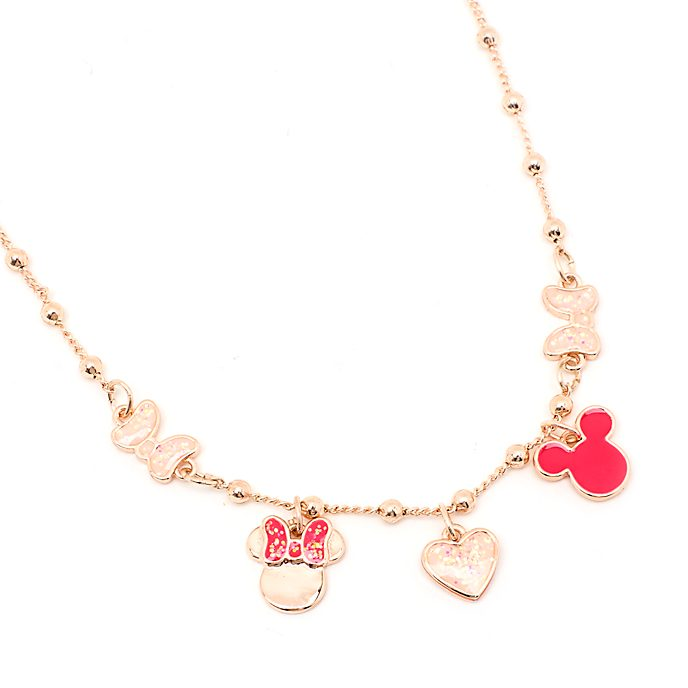 Disney Store Mickey and Minnie Rose Gold-Plated Charm Necklace