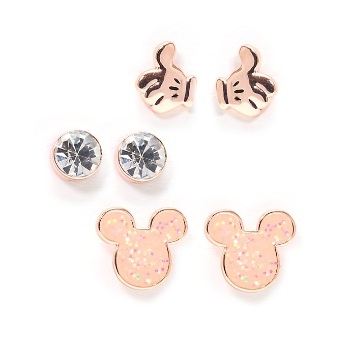 Pendientes botón bañados en oro rosa Mickey Mouse, Disney Store (3u.)