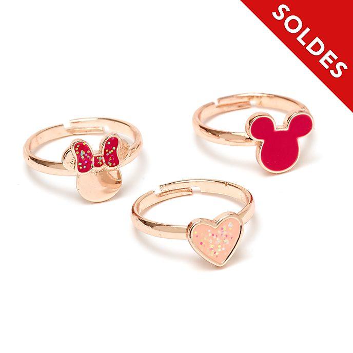Disney Store Lot de 3bagues Mickey et Minnie plaquées en or rose